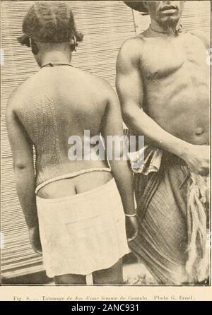 Notes ethnographiques sur quelques tribus de l'Afrique équatoriale française . [.•jg. ö _ Types Ndzimou. [Photo t,. Bruel). Planche III.. - Stock Photo
