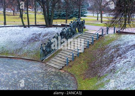 Minsk, Belarus - December, 14, 2019: Yama (the Pit) is Jewish Holocaust Memorial, massacre site of Jews killed by Nazis on that spot in 1942, Minsk - Stock Photo