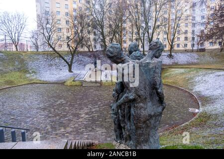 Minsk, Belarus - December, 14, 2019: Yama or the Pit is Jewish Holocaust Memorial, massacre site of Jews killed by Nazis on that spot in 1942, Minsk - Stock Photo