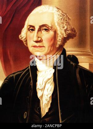 Vintage portrait of George Washington (1732 - 1799) – Commander of the Continental Army in the American Revolutionary War / War of Independence (1775 – 1783) and the first US President (1789 - 1797). Detail from a chromolithograph print circa 1876 by Augustus Weidenbach, after a painting by artist Gilbert Stuart (1755 – 1828). - Stock Photo
