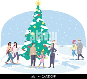 City park  Xmas tree flat vector illustration. Winter festival decorations. Cartoon family have fun, walking at outdoor Christmas fir tree characters. - Stock Photo