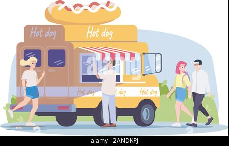 Hot dog truck flat vector illustration. Summer outdoor rest in town. City picnic. Street food vehicle, buyer, walking couple, girl on skateboard isola - Stock Photo