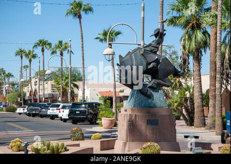 Jack Knife statue by Ed Mell in Scottsdale Arizona USA - Stock Photo