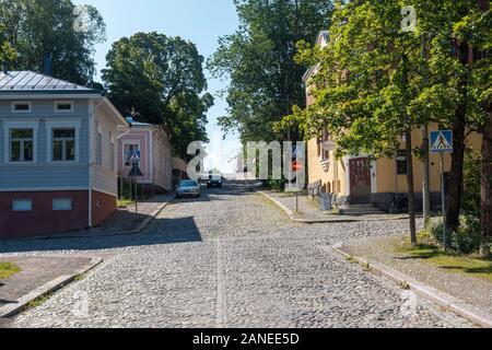 Streets of old Hämeenlinna town - Stock Photo