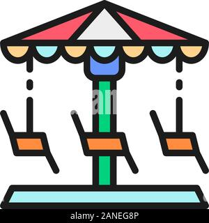 Merry-go-round, carousel, swing flat color line icon. - Stock Photo