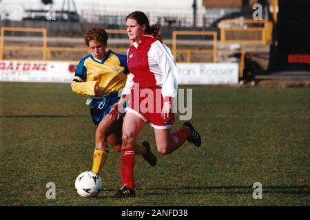 Kelly Smith of Wembley and Gillian Coulthard of Doncaster during Doncaster Belles vs Wembley Ladies, FA Women's Premier League Cup Final Football at U - Stock Photo
