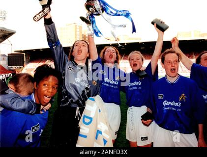 Millwall players celebrate victory during Millwall Lionesses vs Wembley, FA Women's Cup Final Football at the New Den, Millwall FC on 4th May 1997 - Stock Photo