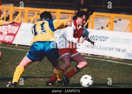 Match action during Doncaster Belles vs Wembley Ladies, FA Women's Premier League Cup Final Football at Underhill, Barnet FC on 10th March 1996 - Stock Photo