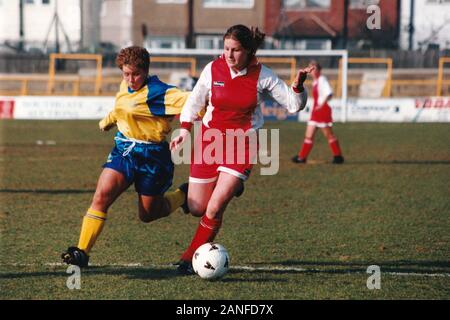 Kelly Smith of Wembley and Gillian Coluthard of Doncaster during Doncaster Belles vs Wembley Ladies, FA Women's Premier League Cup Final Football at U - Stock Photo