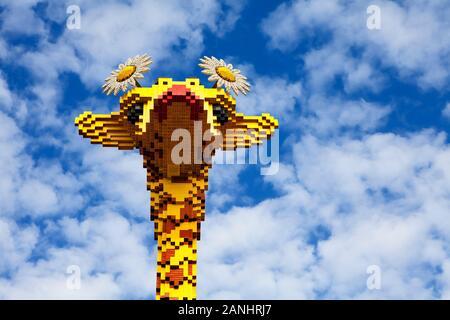 A giraffe built with Lego bricks, LEGOLAND Discovery Centre, Centro, Oberhausen, Germany - Stock Photo