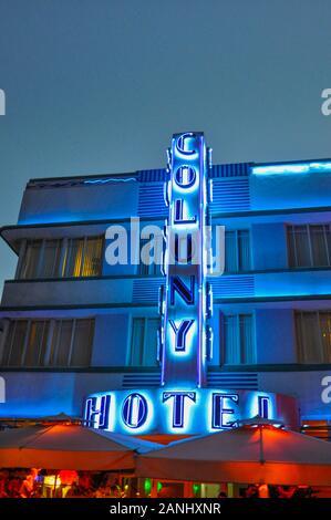 The Colony Hotel, South Beach, Miami, Florida - Stock Photo