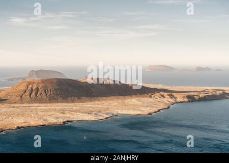 La Graciosa island from Mirador del Rio, Lanzarote, Canary Islands. - Stock Photo