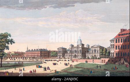 A view of the Parade of St. James Park, the new buildings for the horse guards, the Admiralty with His Majesty going to the House of Lords Etc.  From an engraving by Thomas Bowles dated 1753 after a work by Canaletto.  Later colourization. - Stock Photo