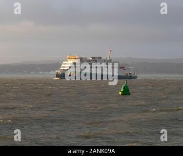 The Isle of Wight to Portsmouth car ferry Victoria of Wight approached Portsmouth Harbour - Stock Photo