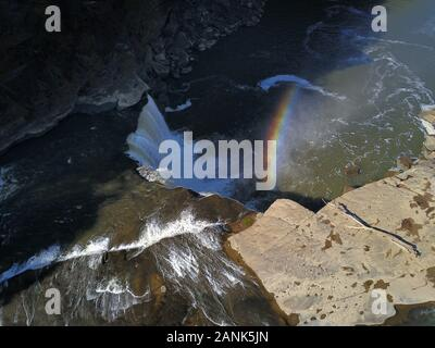 Cumberland Falls waterfall rainbow drone aerial Kentucky USA - Stock Photo