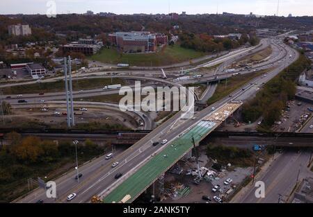 drone aerial I-75 interstate bridge construction Cincinnati Ohio - Stock Photo