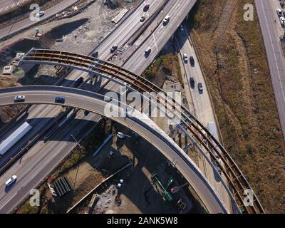 drone aerial I-75 interstate bridge construction Cincinnati Ohio - Stock Photo