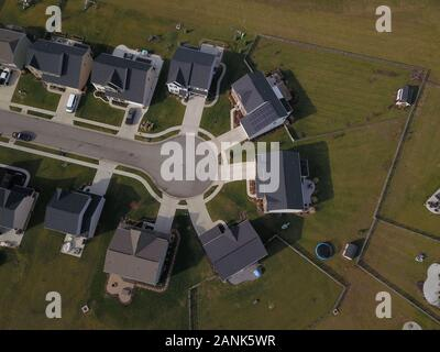 drone aerial Home neighborhood construction in converted farm field Ohio - Stock Photo