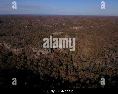 Drone aerial Natural Arch Kentucky USA A rock bridge - Stock Photo