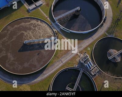Drone ariel sewage treatment plant Ohio - Stock Photo