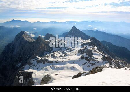 View from the summit of Mt Triglav, the highest mountain in Slovenia - Stock Photo