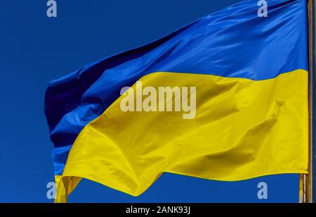 Ukrainian national flags on blue and yellow a flagpoles against a blue sky - Stock Photo