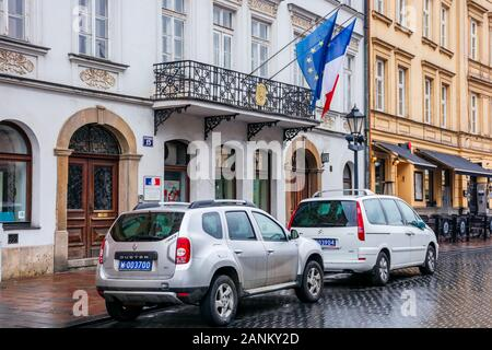 Krakow, poland - APR 30, 2019: France and European Union flags on facade of Consulate General of the Republic of France in Krakow located in historic - Stock Photo