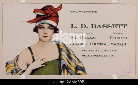 1920s-vintage advertising flier for the Bassett's Ice Cream stand in the Reading Terminal Market, Philadelphia, Pennsylvania Physical description: 1 transparency : color ; 4 x 5 in. or smaller.  Notes: Digital image produced by  to represent her original film transparency; some details may differ between the film and the digital images.; Forms part of the Selects Series in the  Archive.; Gift and purchase; ; 2011; (DLC/PP-2011:124).; Bassett's was one of the original tenants of the Reading Terminal Market.; Title, date, subj - Stock Photo