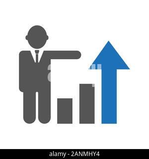 Business growth, progress or success concept. Businessman is showing a growing. EPS 10 - Stock Photo