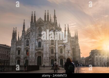 Milan city at sunrise, Italy. Milan Duomo - Stock Photo