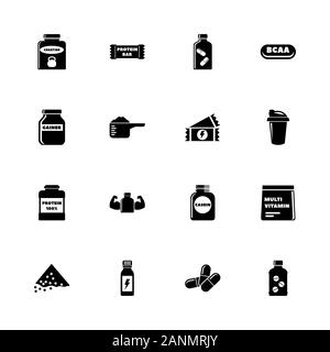 Sport Supplements icons - Expand to any size - Change to any colour. Flat Vector Icons - Black Illustration on White Background. - Stock Photo
