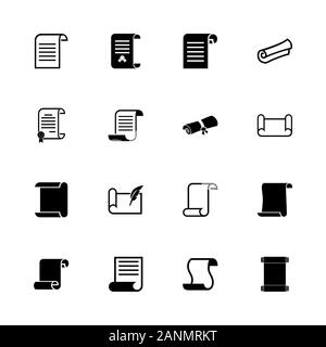 Scrolls and Papers icons - Expand to any size - Change to any colour. Flat Vector Icons - Black Illustration on White Background. - Stock Photo