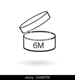 Period after opening PAO symbol. Useful lifetime of cosmetics after package is opened sign. Black drawing icon of pot with number of months representing best before date. - Stock Photo