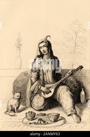 Lady with typical dress playing music inside a Harem. Iran. Old steel engraved antique print. Published in L'Univers La Perse, in 1841. History of the - Stock Photo