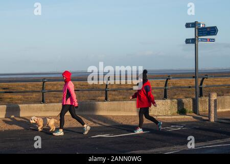 Southport, Merseyside,  UK Weather 18th January, 2020  Bright sunny start to the day in the north-west. Credit;: MediaWorldImages/AlamyLiveNews - Stock Photo