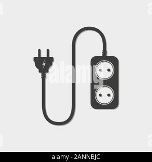 Extension cord - vector illustration. Icon of power extension cord. Simple black electrical socket. - Stock Photo