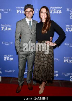 Santa Barbara, CA - Jan 17, 2020: Jonathan Lacocque and Clara Lehmann attend the Outstanding Performers of the Year Award during the 35th Santa Barbar - Stock Photo