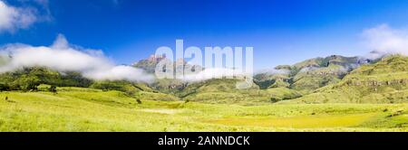 Panorama view of Drakensberg mountains like Cathkin Peak, Monk's Cowl and Champagne Castle with soft and lush green meadows and a blue sky, South Afri - Stock Photo