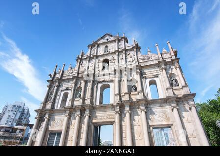 Macao, China - October 16, 2019: Front close up view of The Ruins of Saint Paul's (Ruinas de Sao Paulo) in Macau (Macao) city with blue sky, travel de