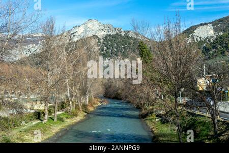Buis-les-Baronnies is a commune and village surrounded by the mountains, sunny winter day in the Drome department in southeastern France - Stock Photo