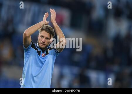 Rome, Italy. 18th Jan 2020. Ciro Immobile of SS Lazio greets his supporters at the end of the Serie A match between Lazio and Sampdoria at Stadio Olimpico, Rome, Italy on 18 January 2020. Credit: Giuseppe Maffia/Alamy Live News - Stock Photo