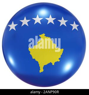 3d rendering of a Kosovo national flag on a circle icon isolated on white background - Stock Photo