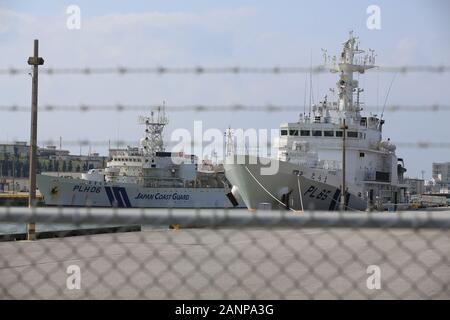 japan Maritime Self-Defense Force ship is parking in okinawa - Stock Photo