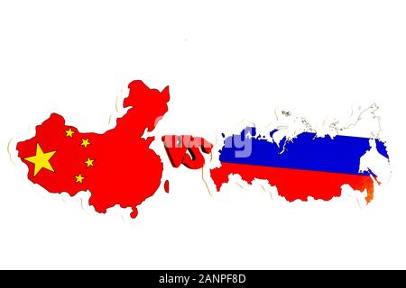 Los Angeles, California, USA - 17 January 2020: China vs Russia concept illustration for news in politics, Illustrative Editorial - Stock Photo