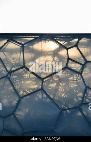 Beijing / China - 05 30 2013: Close up of the skin of the Beijing National Aquatics Center or Water Cube - Stock Photo