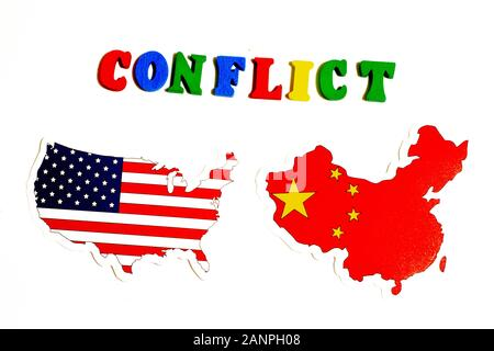 Los Angeles, California, USA - 17 January 2020: USA and China conflict. National flags on white background. Politics concept, Illustrative Editorial - Stock Photo