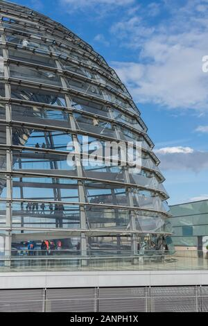 Berlin, Germany- September 28, 2019: Glass dome of the Bundestag - Stock Photo