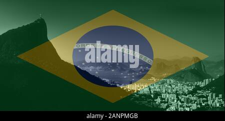 Rio de Janeiro view from Vista Chinesa, Floresta da Tijuca, Brazil in monochrome. Brazilian flag superimposed on foreground - Stock Photo