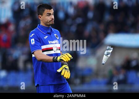 Rome, Italy. 18th Jan 2020. Emilio Audero of Sampdoria reacts during the Italian championship Serie A football match between SS Lazio and UC Sampdoria on January 18, 2020 at Stadio Olimpico in Rome, Italy - Photo Federico Proietti/ESPA-Images - Stock Photo