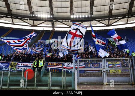 Rome, Italy. 18th Jan 2020. Sampdoria supporters during the Italian championship Serie A football match between SS Lazio and UC Sampdoria on January 18, 2020 at Stadio Olimpico in Rome, Italy - Photo Federico Proietti/ESPA-Images - Stock Photo
